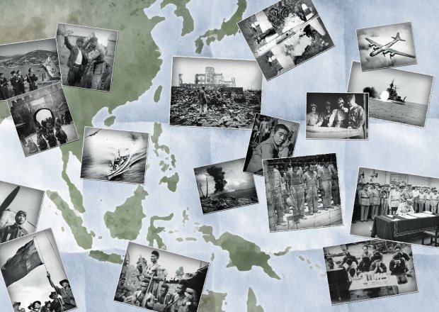 A collage shows various black and white images from the Pacific War laid out on a map of Asia.