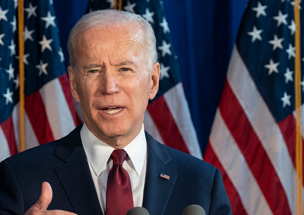 Lev Radin/ New York, NY - January 7, 2020: Former Vice President & Democratic hopeful Joe Biden made foreign policy statement at Current on Pier 59/ Shutterstock.com