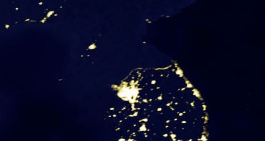 Satellite picture displaying the Korean peninsula at night.