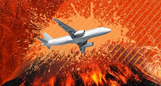Illustration of a plane flying over an exploding volcano
