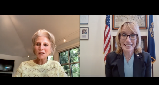 Hon Jane Harman and Senator Maggie Hassan on Zoom from the event