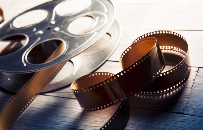 A film reel on a white background