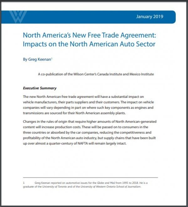 North America's New Free Trade Agreement: Impacts on the North American Auto Sector