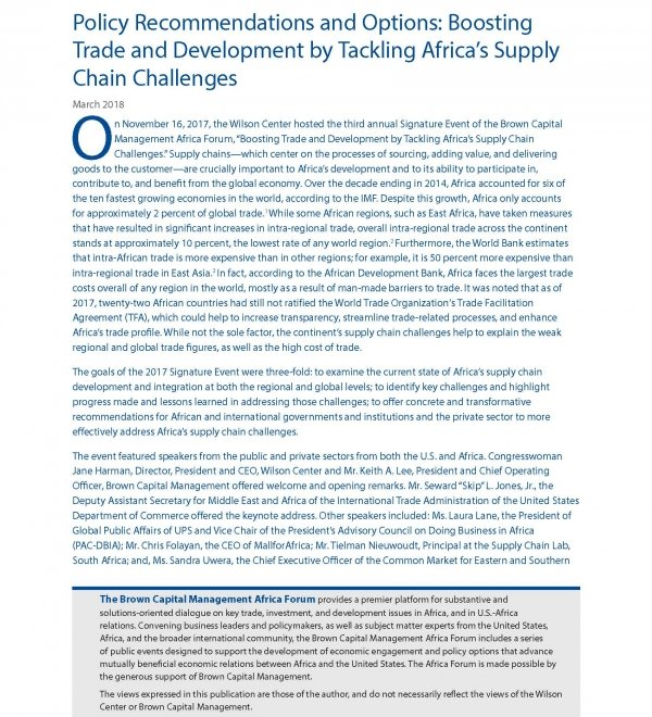 Policy Recommendations and Options: Boosting Trade and Development by Tackling Africa's Supply Chain Challenges