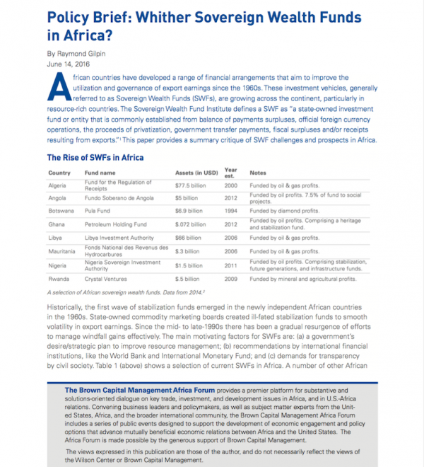 Whither Sovereign Wealth Funds in Africa?