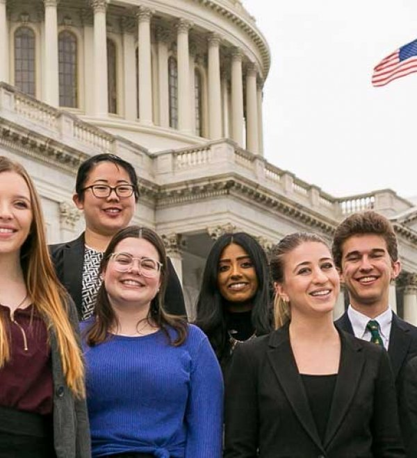 Interns on Capitol Steps
