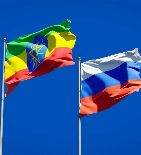 Flags of Ethiopia and the Russian Federation flying in the wind