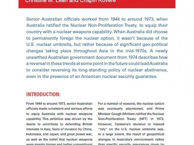Issue Brief #1 - Chasing Mirages: Australia and the U.S. Nuclear Umbrella in the Asia-Pacific