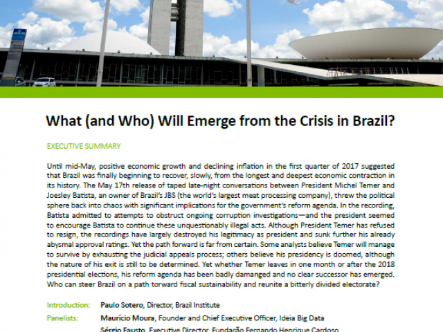 Event Summary: What (and Who) Will Emerge from the Crisis in Brazil?