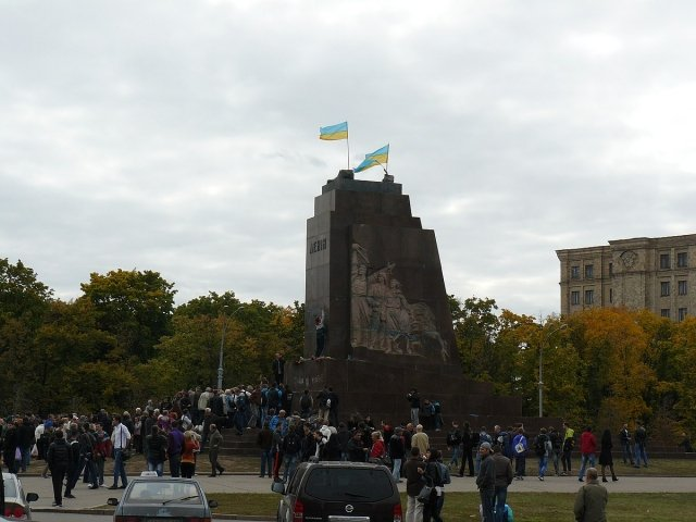 An empty pedestal after the destruction of the monument to Lenin in Kharkiv, Ukraine.