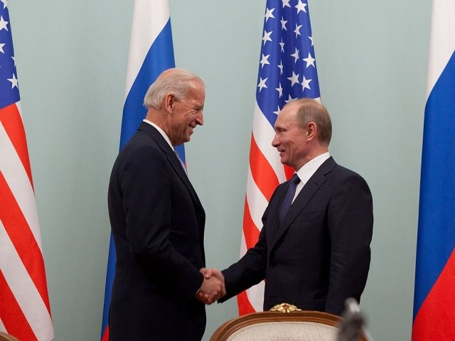 Vice President Joe Biden greets Russian Prime Minister Vladimir Putin at the Russian White House, in Moscow, Russia, March 10, 2011.