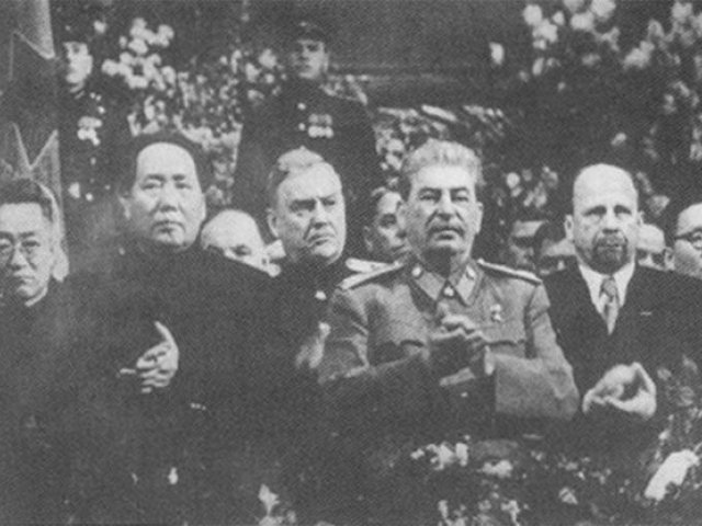 Mao at Stalin's side on a ceremony arranged for Stalin's 71th birthday in Moscow in December 1949