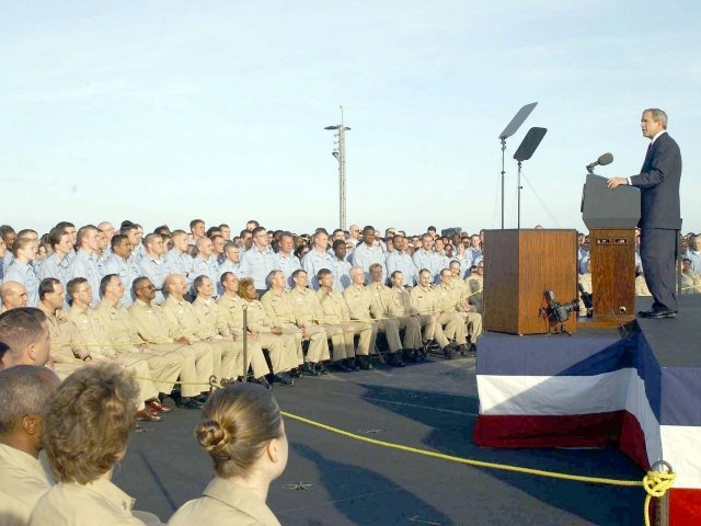 George Bush speaking to sailors aboard the USS Abraham Lincoln, May 1, 2003