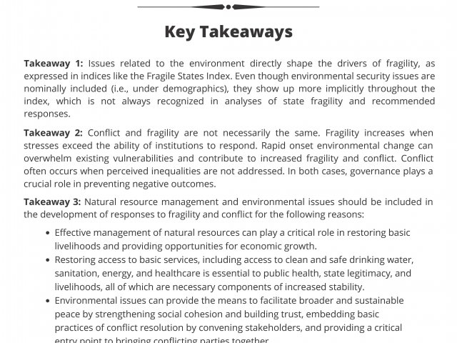 Environmental Security and the Global Fragility Act Policy Brief Cover