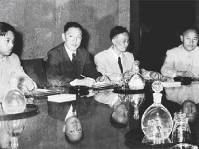 Chinese negotiators at the Sino-American Ambassadorial talks in Geneva in 1955.