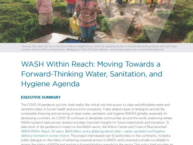 WASH Within Reach: Moving Towards a Forward-Thinking Water, Sanitation, and Hygiene Agenda