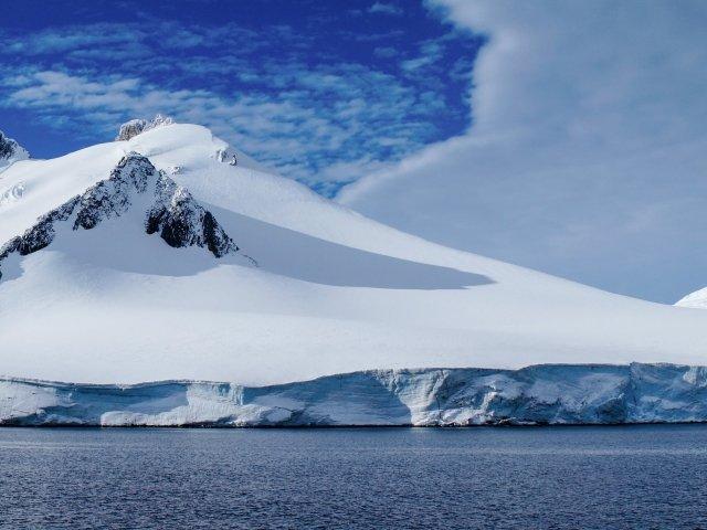 Neumayer channel full of Icebergs in Antarctica