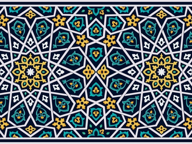 Mosaic design in blue and yellow