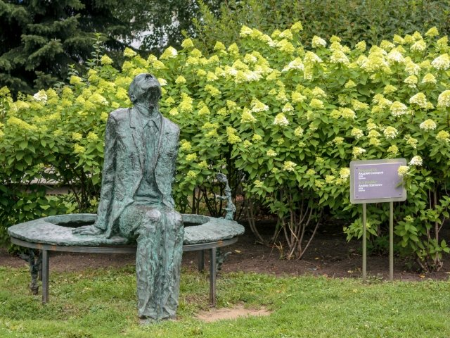 July 18, 2018: Sculpture of Andrei Sakharov, Russian nuclear physicist, dissident, and activist, in Muzeon Art Park in Moscow, Russia.