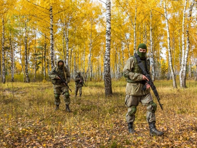 Russian military training in the woods, 2019 Moscow
