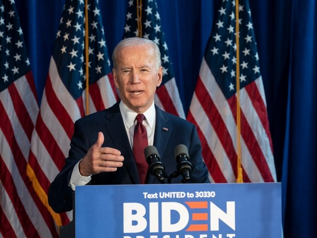New York, NY - January 7, 2020: President Joe Biden made a foreign policy statement at Current on Pier 59 as part of his presidential campaign