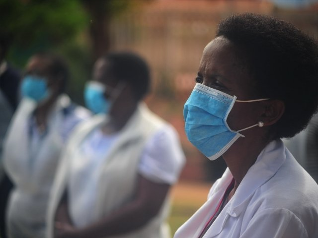 Community healthcare workers conduct door-to-door screenings for COVID-19 in Lebowakgomo, Limpopo, South Africa