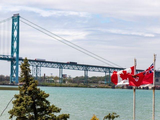 Ambassador Bridge with Canadian Flag