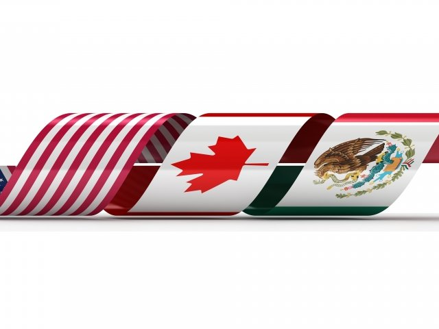 Curved Ribbon of US, Canada, and Mexico Flags