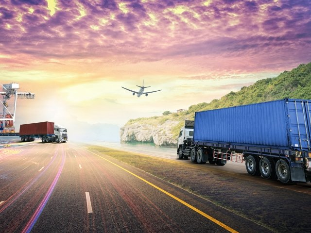 Container truck, cargo ship, road, plane