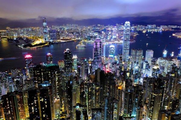 The Hong Kong skyline at night