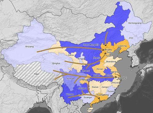 China map west east electricity transfer project