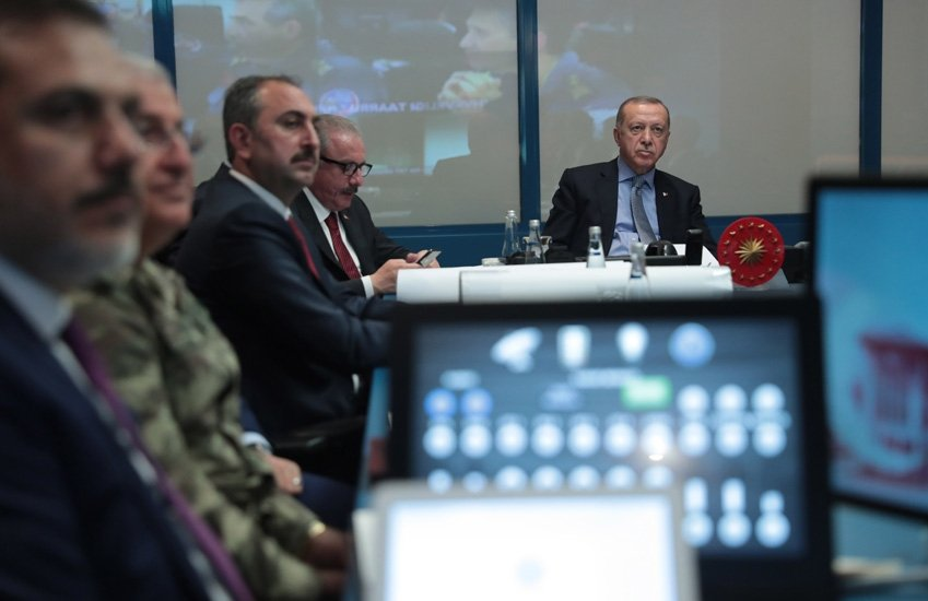 President Erdoğan of Turkey chairs the coordination meeting for Operation Peace Spring, September 2019. Source: tccb.gov.tr