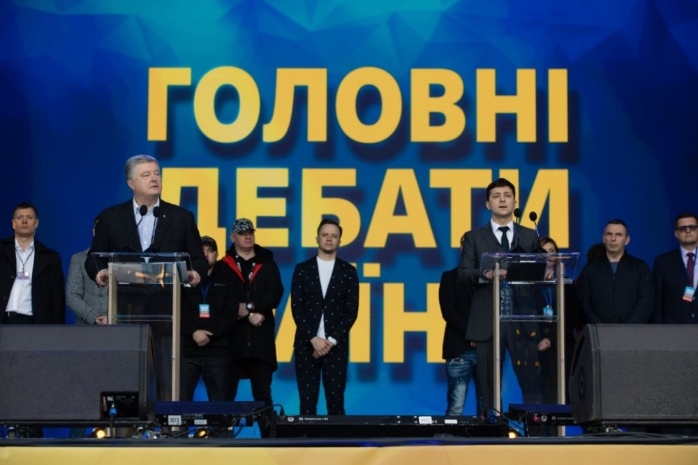 Photo of President Petro Poroshenko and President-elect Volodomyr Zelenskiy during the presidential debates. Source: president.gov.ua