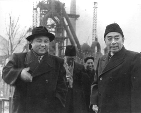 North Korean leader Kim Il Sung alongside Chinese Premier Zhou Enlai, 1958