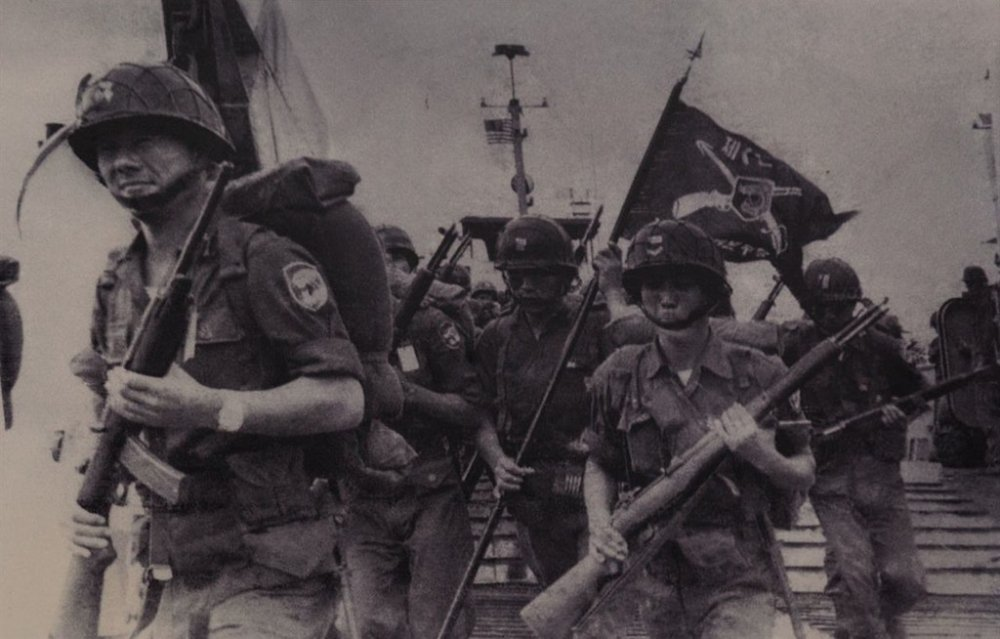 South Korean troops, pictured here landing in Vietnam, were the target of North Korean psychological warfare operations carried out in South Vietnam.