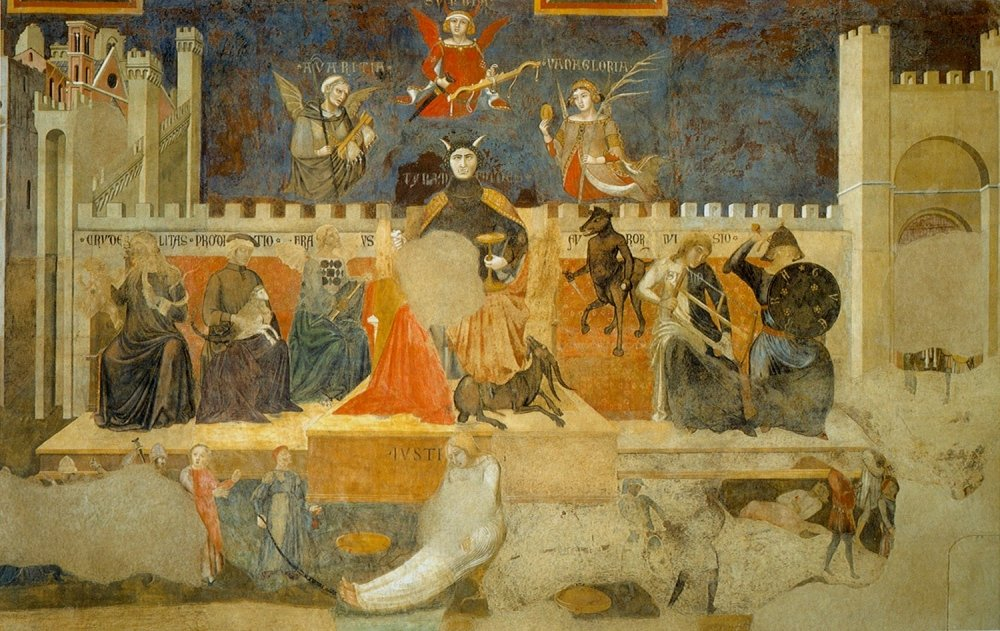 'The Allegory of Good and Bad Government' painted by Italian artist Ambrogio Lorenzetti between 1338 and 1339. Source: Wikimedia Commons.