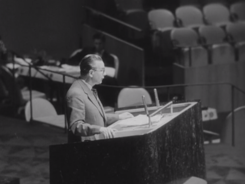 Polish Foreign Minister Adam Rapacki speaks before the United Nations on the denuclearization of Central Europe. Source: UN Audiovisual Library, #2232383.