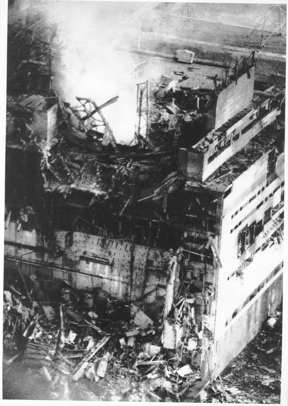 The first photograph of Unit Four after the accident, shot from a helicopter by Chernobyl plant photographer Anatoly Rasskazov, at approximately 3.00pm on April 26 1986 (Anatoly Rasskazov/Ukrainian National Chernobyl Museum)