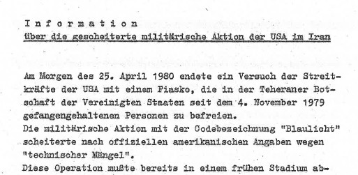 A Stasi report on the failed mission to rescue American hostages during the Iran Hostage Crisis in 1980