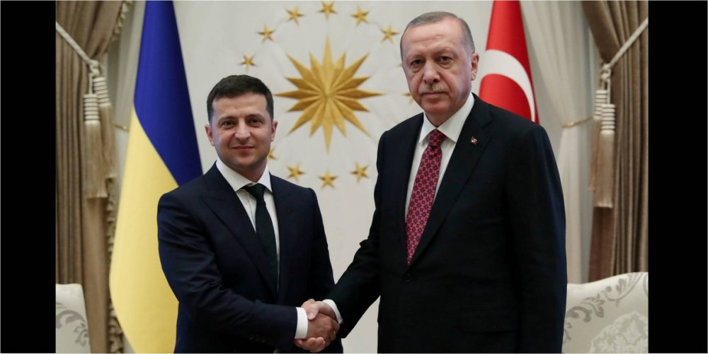 President Erdogan of Turkey and President Zelenskyy of Ukraine at a meeting in Ankara. Source: Directorate of Communications, Presidency of the Republic of Turkey.