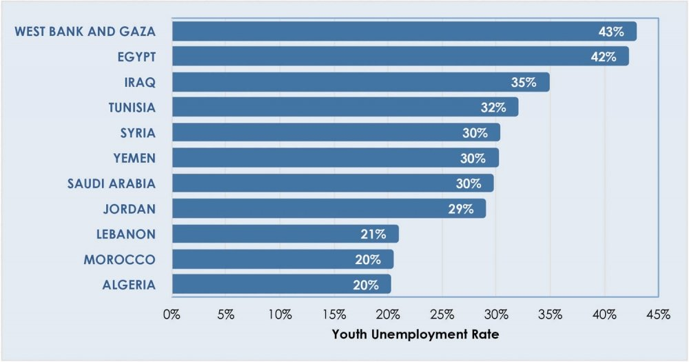 Figure¬ 3. Youth Unemployment in the Middle East and North Africa (ages 15–24) Source: International Labour Organization estimates from 2014, as reported in World Bank, World Development Indicators database.