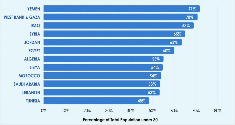 Figure ¬2. Population under 30 in the Middle East and North Africa Source: World Bank, Health and Nutrition Population Statistics database, 2015.