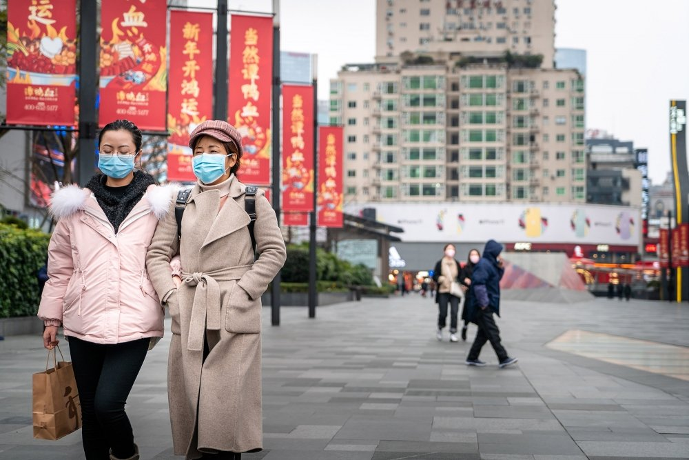 People in Chengdu, China wearing facemasks in January 2020.