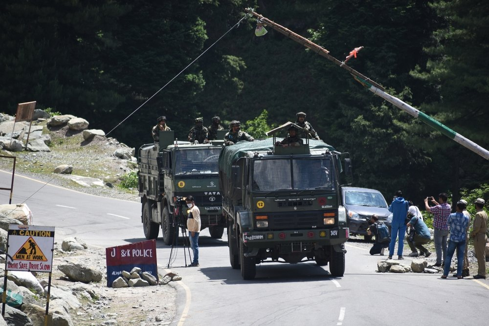 An Indian Army convoy at the Sringar-Ladakh highway, June 2020.