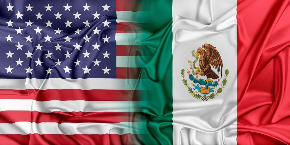 US and Mexico flags