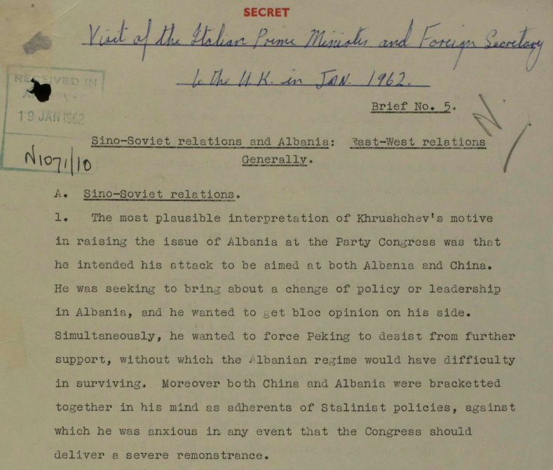 A British Foreign Office brief describing the Sino-Soviet split as well as Albania's international relations.