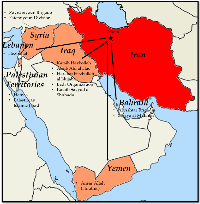 Iran Proxy and Sanctions Map Dec 2020