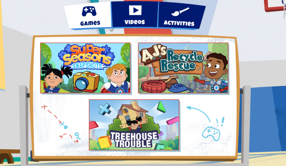 Screenshot of the home page for Hero Elementary games