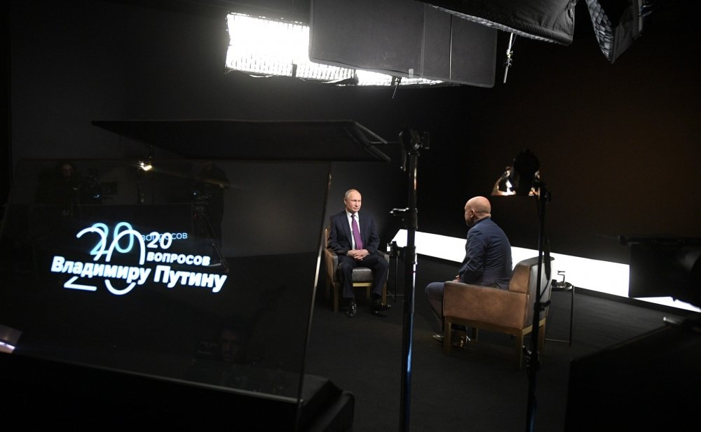 President Vladimir Putin gives an interview to TASS News Agency in March 2020.
