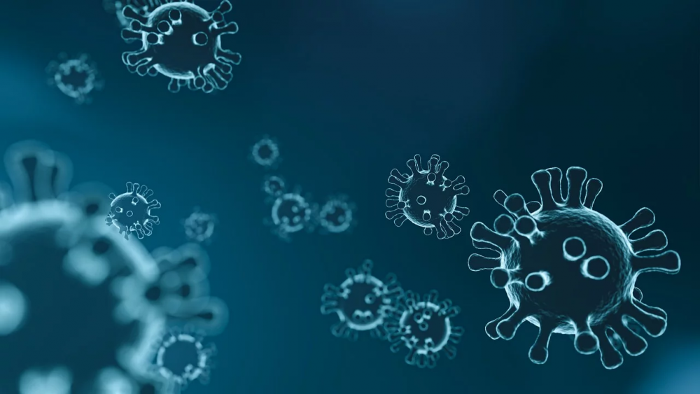 Viruses on a blue background